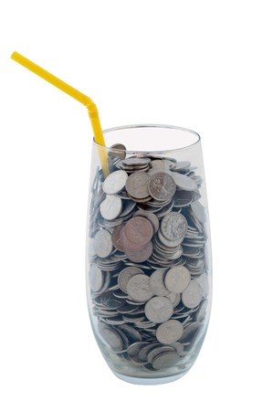 tubule: Cocktail from coins with a tubule with a glass glass