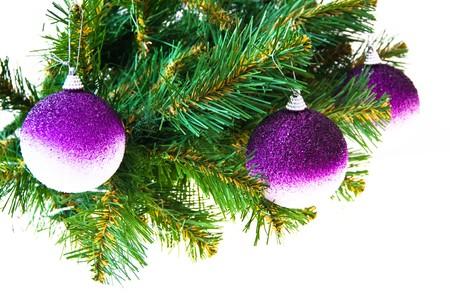 Three gold balls on a Christmas fur-tree Stock Photo - 7783123