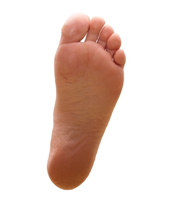 pied jeune fille: le pied des jambes femelles sur fond blanc