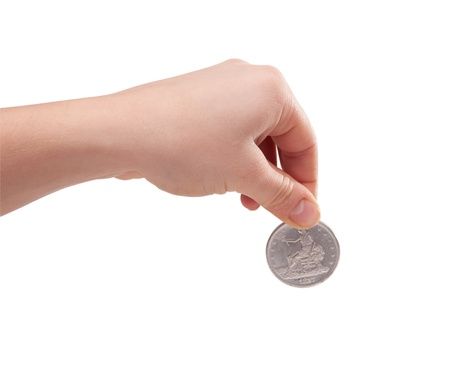female hand holding a silver dollar coin