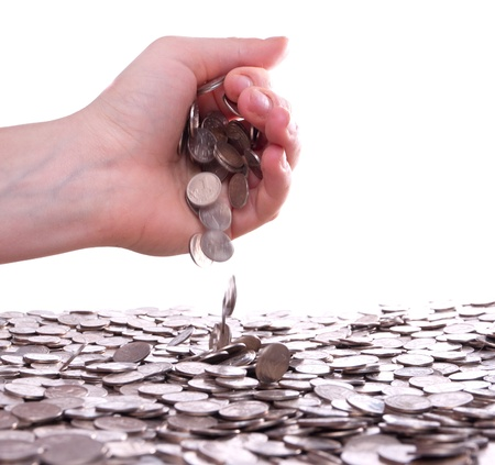 contributions: womans hands holding a handful of coins