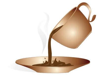 cup of hot coffee poured into a saucer Stock Photo - 8686056