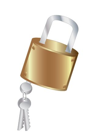 Closed padlock with keys ligament photo