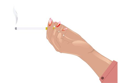 dissemination: female hand holding a cigarette with the smoke
