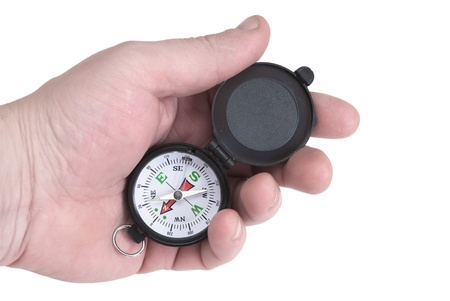 mans hand holding compass navigation