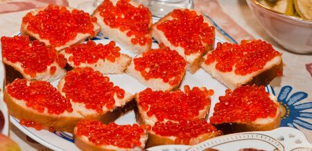 sandwich with red caviar, butter and herbs Stock Photo - 9538698