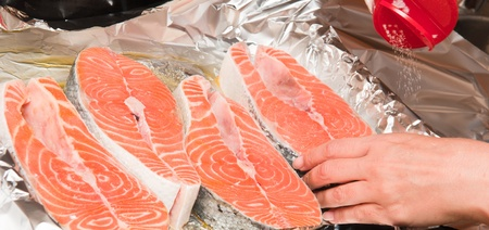 The big piece of red trout for stake Stock Photo - 9981160