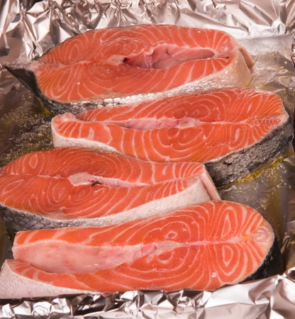 The big piece of red trout for stake Stock Photo - 9981158
