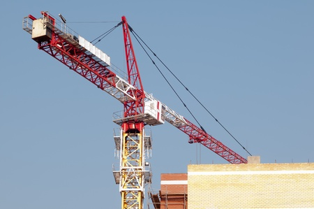 Lift crane building a new residential building photo