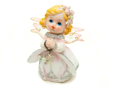 little girl angel to pray to God Stock Photo