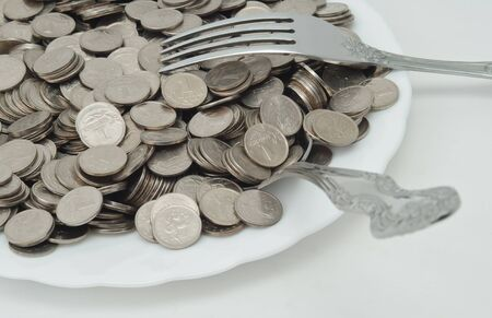 small coins on a plate with cutlery Stock Photo - 12044226