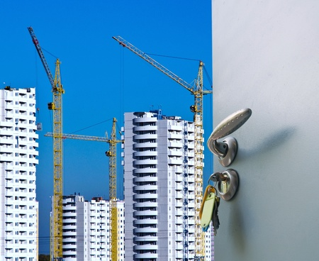 view of the construction of new homes from the open door Stock Photo - 12993459