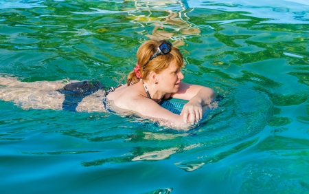 middle-aged woman in the pool Stock Photo - 14736633