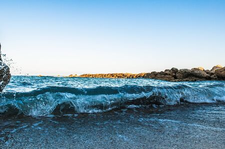 beautiful sea landscape of the island of Cyprus with a rocky shore