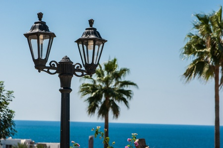 street lamp on the wall against the blue sky Stock Photo - 15866735