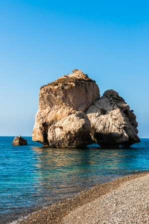 Bay on the island of Cyprus with the legendary rock of Aphrodite photo