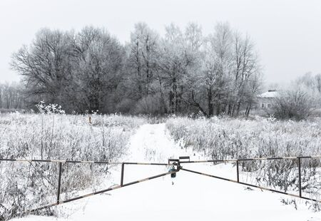 winter landscape gate closed on the lock with chain
