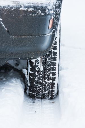 wheel of a car stuck in the snow Stock Photo - 17190115