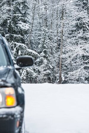 front of the car in the winter Stock Photo - 17178360