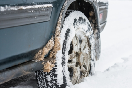 wheel of a car stuck in the snow photo