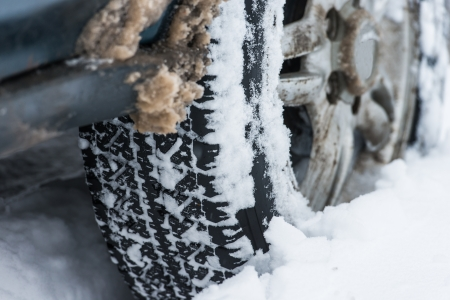 wheel of a car stuck in the snow Stock Photo - 17190116
