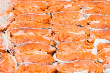 The big piece of red trout for stake Stock Photo - 17923740