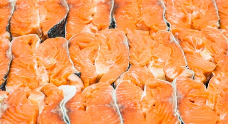 The big piece of red trout for stake Stock Photo - 17923738