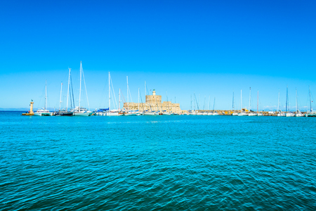 landscape of an ancient fortress in the Mediterranean port photo