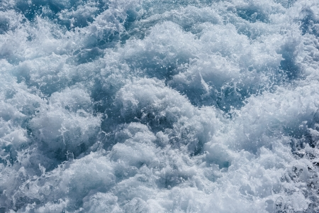 turbulence: footprint on the sea water from the ship sailing Stock Photo