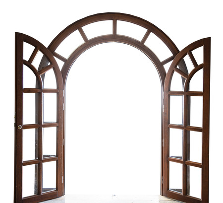 open arched wooden door on a white background photo