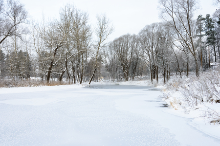 landscape is not still pond with snowy shore Stock Photo - 25215530