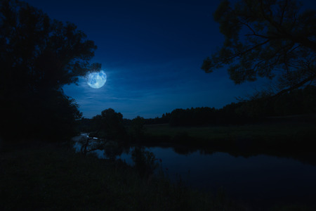 night landscape nature river view with haze