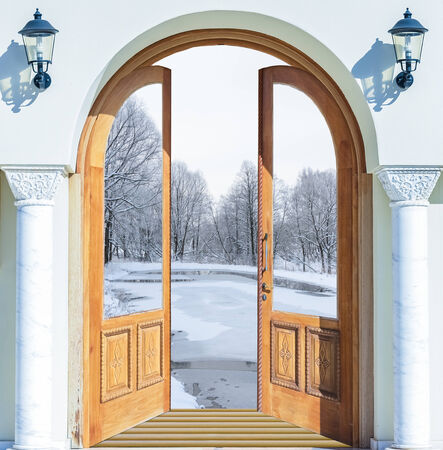 open up: Open the door handle and keys conservatory overlooking the forest and the sun