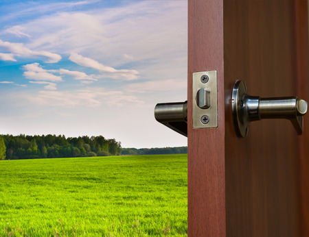 open door with a view of green meadow illuminated by bright sunshine Stock Photo