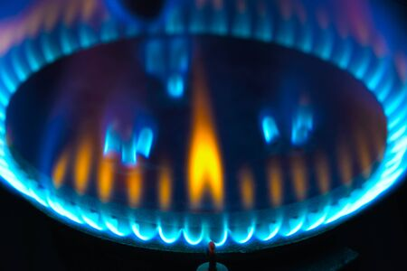 gas burner: stove for cooking gas burner blue flames Stock Photo