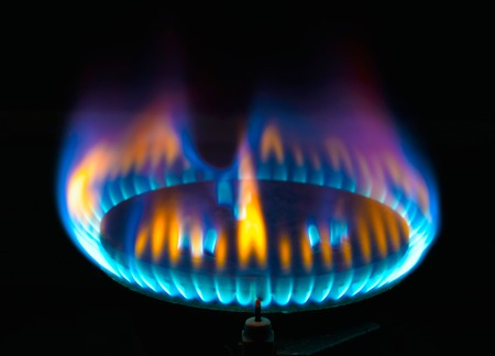 stove for cooking gas burner blue flames photo