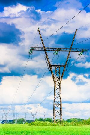 volt: Electric wires on a column about high volt Stock Photo