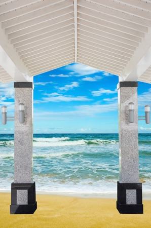 beach access: access to the covered porch shore sea sand beach