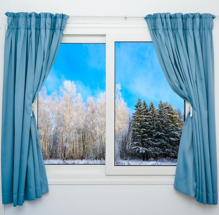 uitzicht vanuit het raam van een winters bos Stockfoto