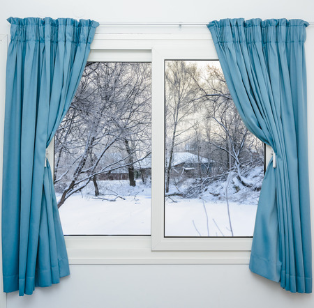 casement: view from the window of a winter forest Stock Photo