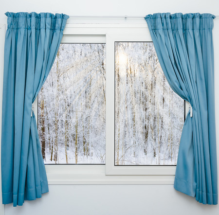 window view: view from the window of a winter forest Stock Photo