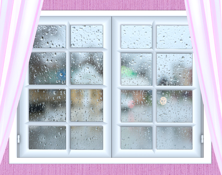 window view: view from the window pink curtains weather rain through the glass with a drop Stock Photo