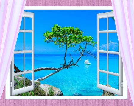 open raam uitzicht op de zee goed weer zomer Stockfoto