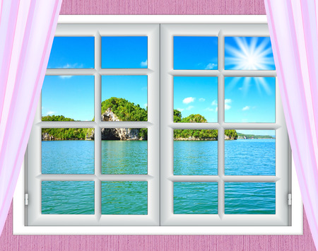 window view: Ocean view from the window on the island of sunny summer day Stock Photo