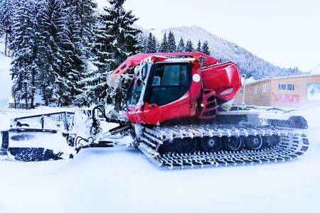 snowcat: snowcat transport preparation ski slope on the hillside