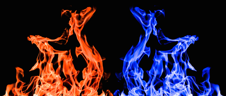 raging: furious raging flames red fire black background Stock Photo