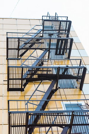 emergency stair: Side stairs outside the building structure for dangerous case