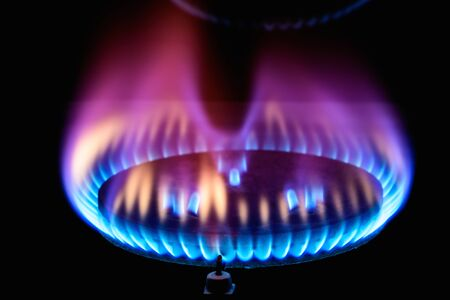 blue flames: stove for cooking gas burner blue flames Stock Photo