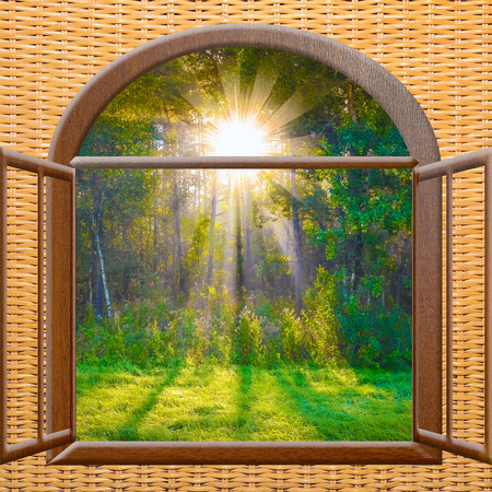 adentro y afuera: beautiful sunrise sunshine view from the window with curtains