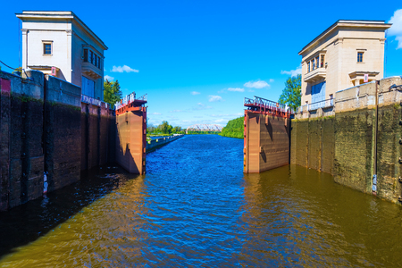 sluice gateway to the river channel for ships